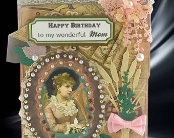 Card for mom. Mum Birthday. Gift for mom. Happy Birthday cards. Boxed Birthday card. Womens birthday. Card for her. Handmade boxed card.
