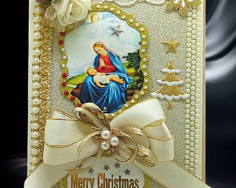 Elegant Christmas Eve box with gold foil personalization. Custom gift box for Christian Events, Baptism, Confirmation.