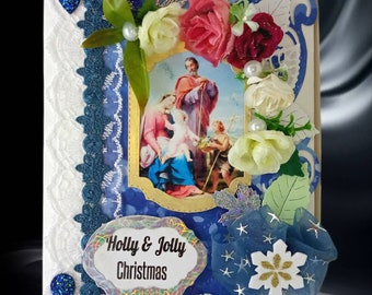 Personalized, Christmas Eve gift box. Luxury decorated, gift wrap for Christmas, Baptism, First Communion. Luxury Xmas gift wrap . 3D box.