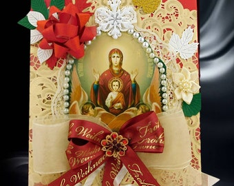 Christian, red greeting box with Virgin Maria, trimmed with pearls and ribbons. Custom, personalized box set for Baptism, Confirmation.
