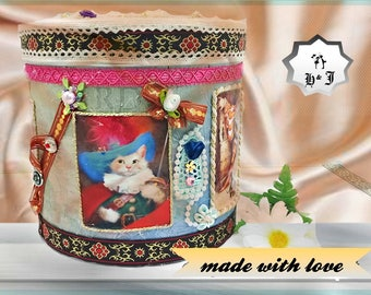 "Unique kids Treasure Box ""The Puss in Boots"". Playroom storage. Adventure box. Luxury pattern box. Keepsake box. Toy storage bin. Magic box."