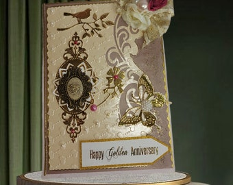 Romantic Weddding day Card. Personalized, Gold Anniversary card with retro brooch, ribbons and pearls. Unique card for family milestone day.