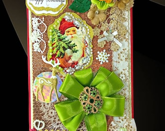 Personalized Chrisrmas gift box, which brings the spirit of Santa to any home. Luxury gift wrap for Xmas Eve with pearls, ribbon and brooch.