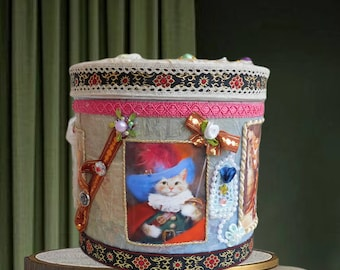 """Unique kids Treasure Box """"The Puss in Boots"""". Luxury Toy storage bin for boys and kids with fairy design of studio BodoArt , gift wrapped."""