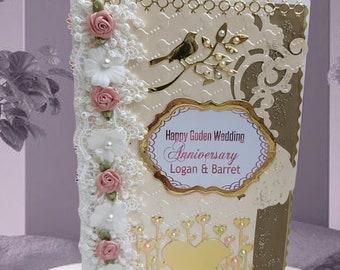 Personalized, 3D Card for a couple. 50th Anniversary gift for parents and friends. Unique , handmade card with lace, pearls and flowers .