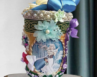 """Wonderland gift box """"The Ice Queen and the Sea Queen"""". Mythical creatures gift idea for girls and kids in marine blue, personalized ."""