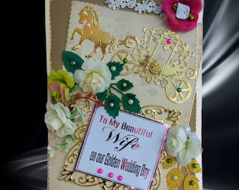Custom, milestone card for My Beautiful Wife. Personalized, retro style card in burned gold design for women with gold foil wording.