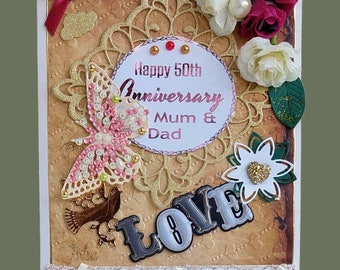 Personalized Love card for Mum and Dad. Happy 50 Anniversary in gold. Ellegant card with pearls, butterfly and roses. Milestone card couple.