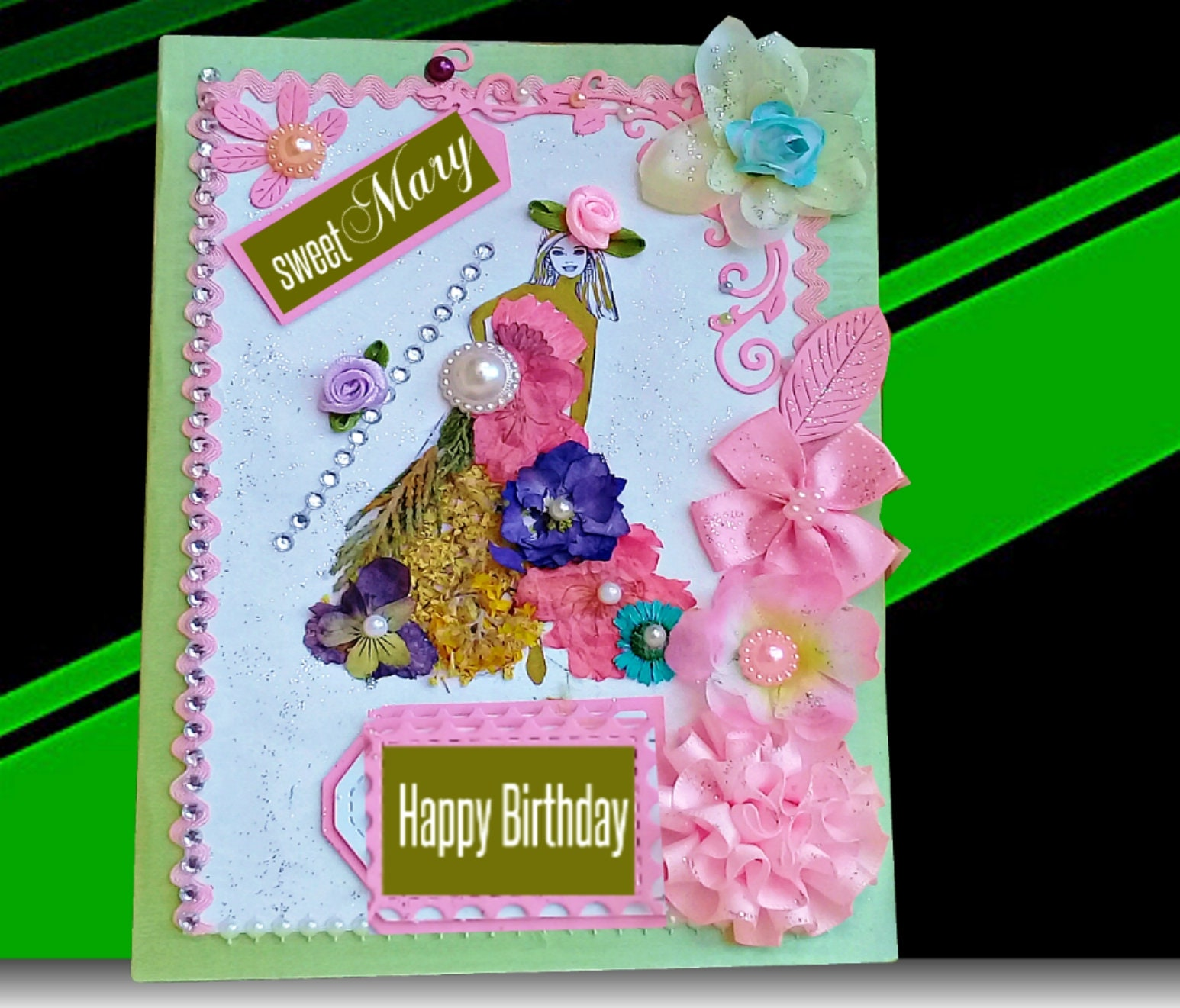 Happy Birthday Card Handmade Boxed Personalised Girl Gift Cards For Her Friend Girlfriend