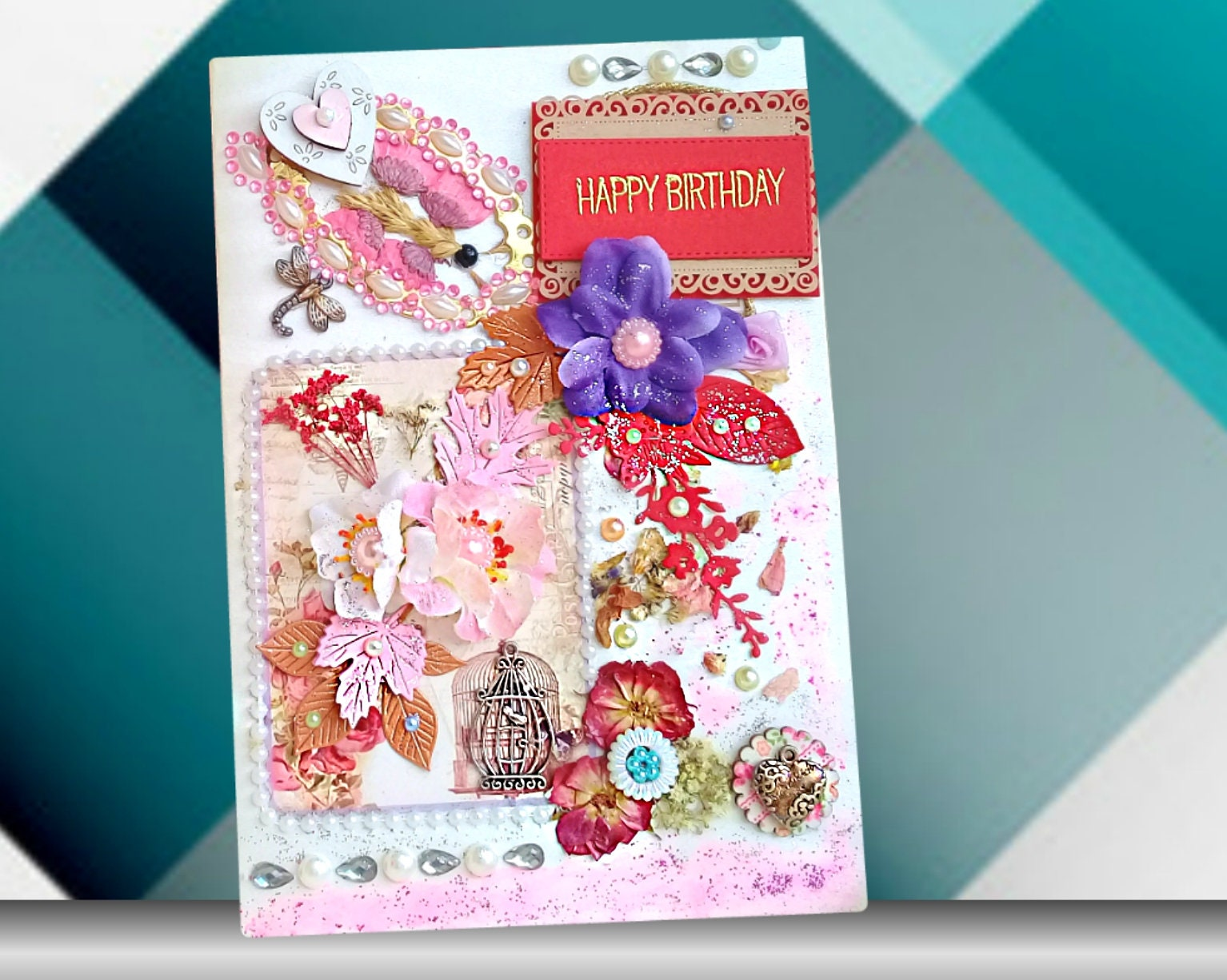 Mum Birthday Card Best Friend Birhday Cards Wife Daughter In Law Fiance Gift Dried Flowers For Family