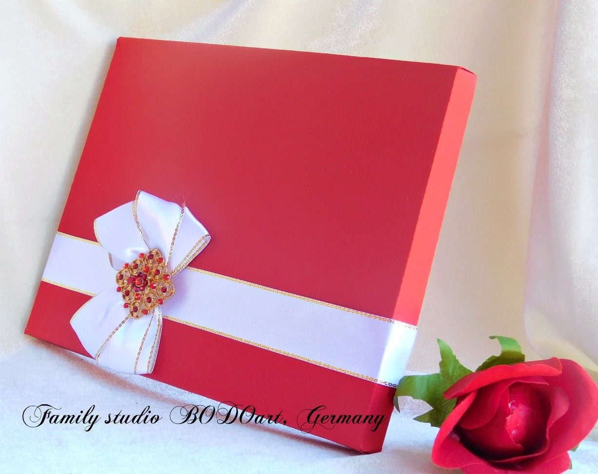 Luxury Holland Red Greeting Cardsbox Photography Box Birthday Card With A Brooch Bow Pearl Stationary