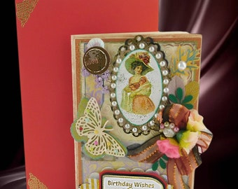 Birthday card. Special 3D greeting card for Girlfriend, Fiancee, Wife. Adorable design with stunning organza bow and fabric roses.