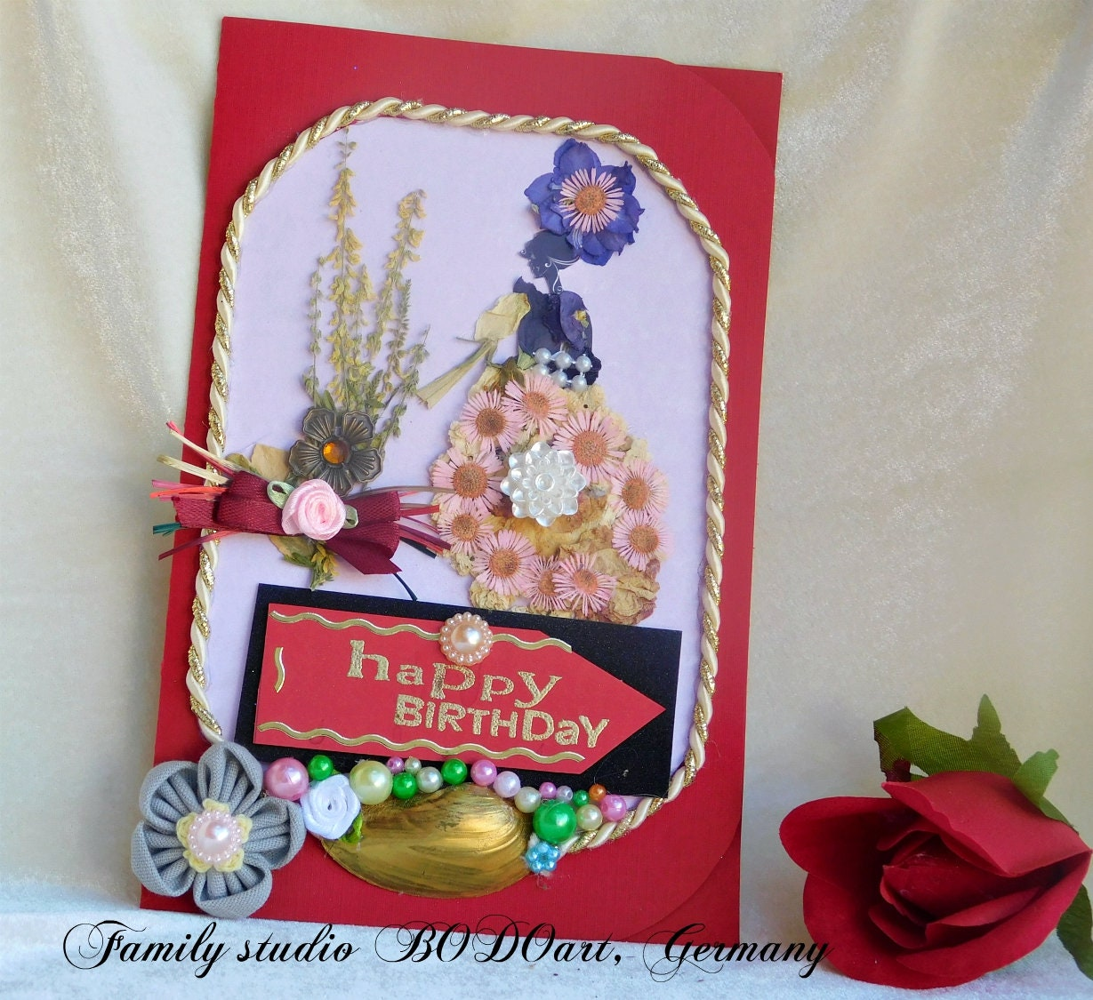 Dried Flowers Cards Flower Girl Happy Birthday Cards Card For Her
