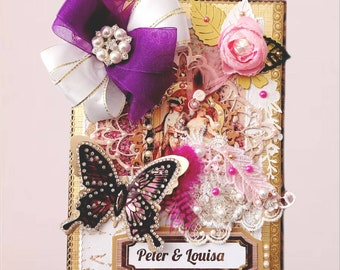 Personalized, Victorian style anniversary card . Luxury, multilayed , boxed Card for a couple, Wife, Friends. Ellegant, 3D handmade card .