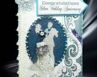 Personalised Silver Anniversary card.  Ellegant 25th Wedding Day Card with lots of pearls and lace for couple, mom and dad etc.  3D Card.