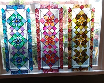 Large 1175x36 Handpainted Custom Framed Faux Stained Glass Window Panel Made To Order Suncatcher Painted Hanging Art House Gift