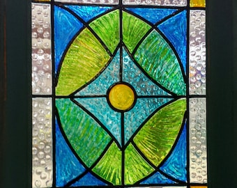 Framed-8x10-Faux Stained Glass Window Panel-Window Art-Sun Catcher-Hand Painted-OOAK-Colorful-Vintage-Glass Design-Glass Art-Gift-House Gift
