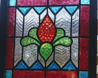 Square 8x8-Faux Stained Glass Window Panel-Window Art-Suncatcher-Vintage-Bright Colors-Traditional Design-House Gift