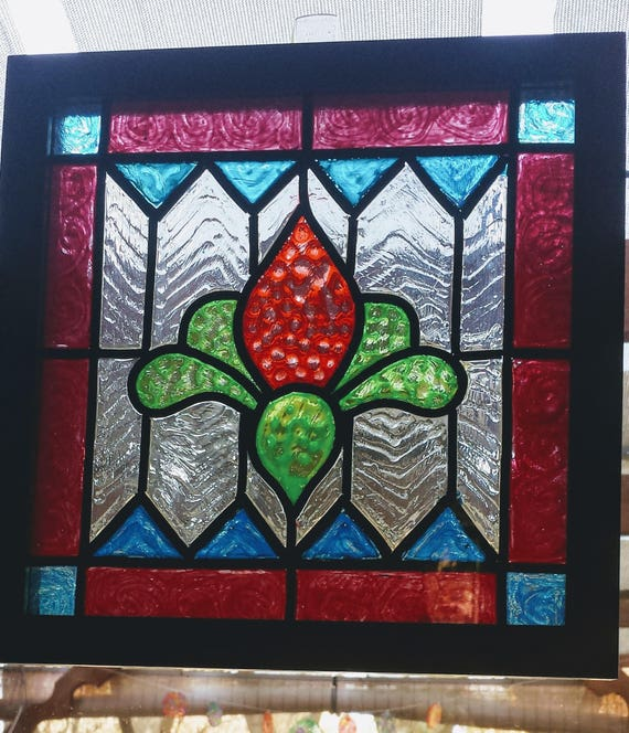 Stained Glass Window Art.Square 8x8 Handpainted Faux Stained Glass Window Panel Window Art Suncatcher Vintage Bright Colors Traditional Design House Gift