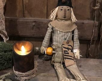 "Primitive  Scarecrow FALL Decor Halloween Shelf Sitter 20"" Cupboard Tuck"