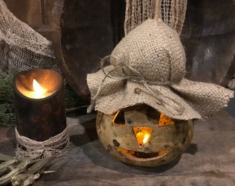 Primitive Dried Gourd Scarecrow Lantern Light Early Look Grubby Homestead Cupboard Tuck Fall Harvest #4