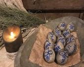 Primitive Eggs Bowl Fillers TWELVE Grubby Homestead Easter Eggs Hand Painted Like Old Salt Glaze Crock Bee Sting