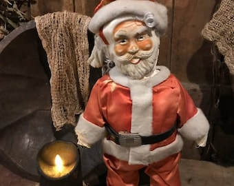 OLD CHRISTMAS Antique Folk Art Santa Claus Christmas Decor Cottage Primitive
