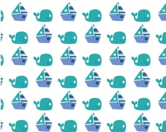 SPRINGS  CREATIVE SEAWATER FRIENDS WHALES SHARKS ON BLUE COTTON   FAT QUARTER