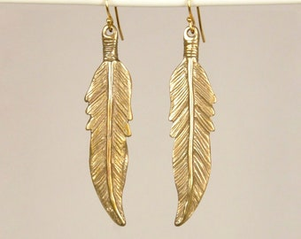 Hand Carved Bronze Feather Earrings