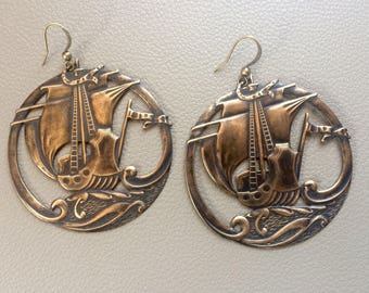 Antiqued Brass Ship Earrings