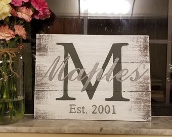 Personalized Hand Painted, Last Name, Wood Sign
