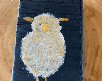 Rustic Sheep Wood Painting