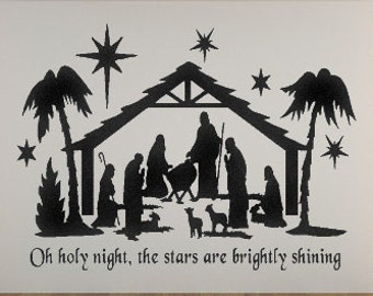 Oh Holy Night The Stars Are Brightly Shining Nativity Vinyl Decal Christmas Decals Nativity Scene Christmas Vinyl Holiday Decorations