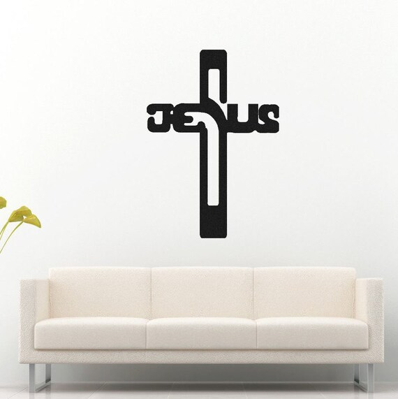 jesus cross vinyl wall decal christian decals jesus cross | etsy