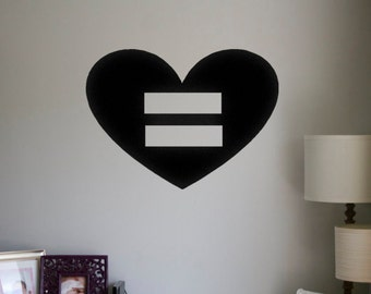 Marriage Equality Vinyl Wall Decal Car Decal Sticker LGBT Equality Heart Equal Love Gay Pride Gay Rights Supporter Gay Marriage LGBT Sticker