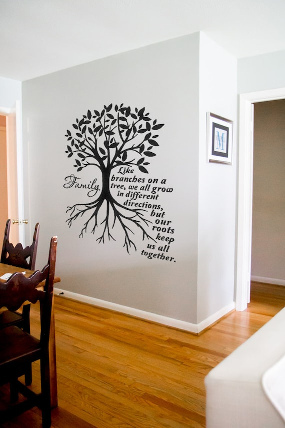 Family Like Branches On A Tree We All Grow Wall Quotes Family Etsy