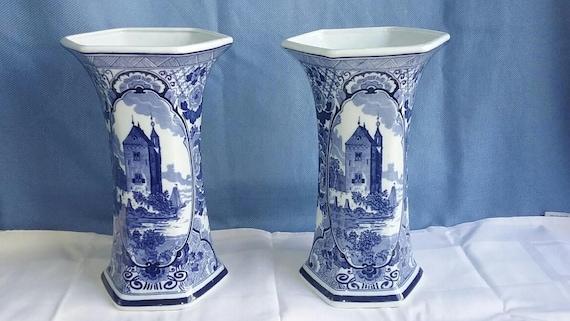 Two Large Vintage Delft Blue Vases Old Castle Etsy