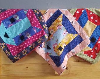 Patchwork Cat Minky Security Blanket