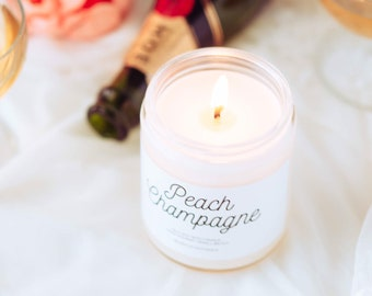 Peach Champagne Candle, Mothers day gift, Scented Soy Candle, Quarantine Gift, New Mom Gift