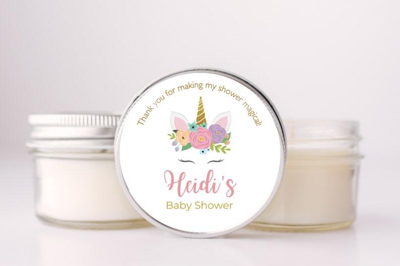 Unicorn Baby Shower Favors  Baby Shower Soy Candles  Unicorn image 0