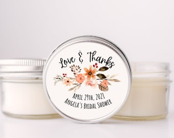 Floral Bridal Shower Favors, Set of 12 Personalized Candle Favours, Bridal Shower, Personalized Shower Favors, Custom Candle Favors