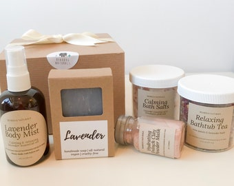 Lavender Spa Gift Set, Mothers Day Gift, Teacher Mothers day Mom gift, Spa pampering Gift Box,  Anniversary gift, Gift for Wife