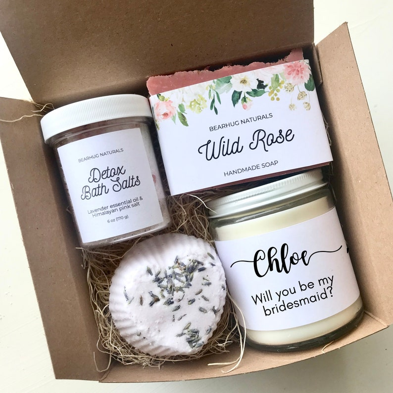 Bridesmaid Proposal Box Personalized Spa Set for Maid of image 0