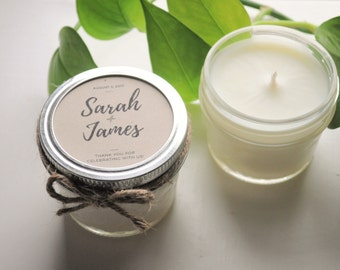 12 - Wedding Favor Candles, wedding Gift for guests Candles , Wedding Giveaways, Personalized candle, Mason Jar Candles, rustic wedding