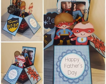 Super Dad Card, Super Hero Card, Father's Day Card, Birthday Card, Box Card, Pop Up Card, Unique,  Handmade, Personalised, Personalized