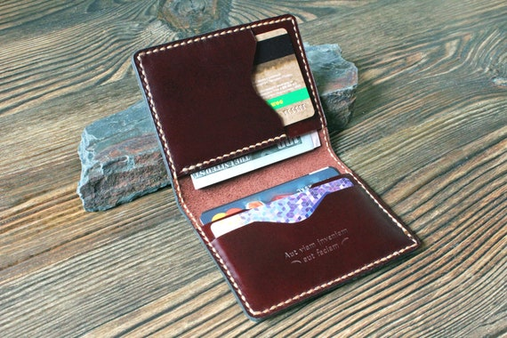 376fdb18cc3c Card holder Leather card wallet Mens gift Front pocket wallet | Etsy