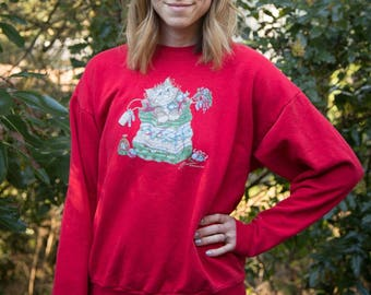 VINTAGE 1980s Christmas Cat Sweater