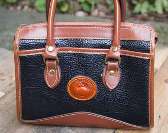 VINTAGE 1990's Black and Brown Leather Dooney and Bourke Satchel Purse