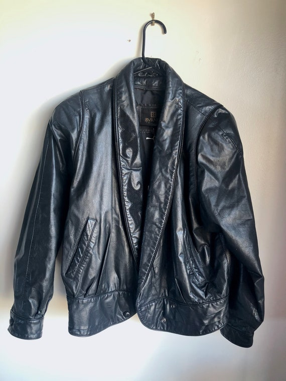 Vintage 1990s Byrnes & Baker Black Leather Jacket