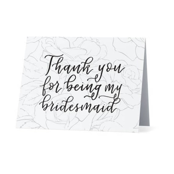 Thanks For Being My Bridesmaid Thank You Note From Bride To Etsy